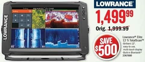 Bass Pro Shops Black Friday: Lowrance Elite 12 Ti TotalScan for $1,499.99