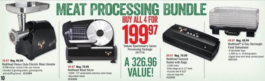 Bass Pro Shops Black Friday: Deluxe Sportsman's Game Processing Package for $199.97