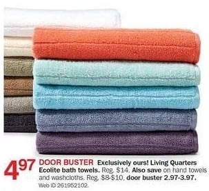 Bon-Ton Black Friday: Living Quarters Ecolite Bath Towels for $4.97