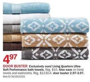 Bon-Ton Black Friday: Living Quarters Ultra Soft Performance Bath Towels for $4.97