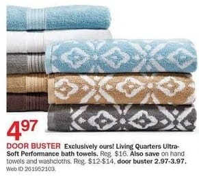 Bon-Ton Black Friday: Living Quarters Ultra Soft Performance Hand Towels or Wasclothes for $2.97 - $3.97