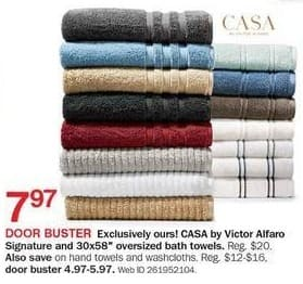 "Bon-Ton Black Friday: Casa by Victor Alfaro Signature and 30x58"" Oversized Bath Towels for $7.97"