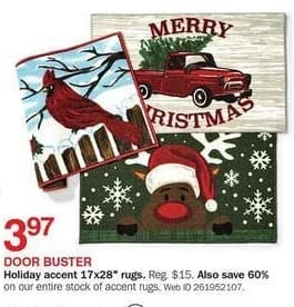 Bon-Ton Black Friday: Holiday accent 17x28-in. rugs for $3.97