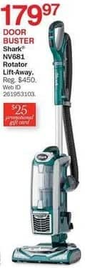 Bon-Ton Black Friday: Shark NV681 Rotator Lift-Away + $25 Promo Gift Card for $179.97