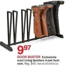 Bon-Ton Black Friday: Living Quarters 4-pair Boot Rack for $9.97