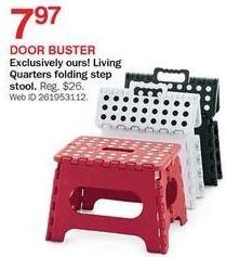 Bon-Ton Black Friday: Living Quarters Black Folding Step Stool for $7.97