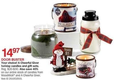 Bon-Ton Black Friday: WoodWick or A Cheerful Giver Candles - 40% Off