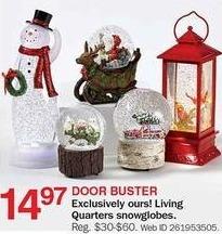 Bon-Ton Black Friday: Living Quarters Snowglobes for $14.97