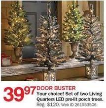 Bon-Ton Black Friday: Living Quarters Set Of 2 Pre-Lit Porch Trees for $39.97