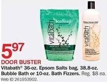 Bon-Ton Black Friday: Vitabath 36-oz. Epsom Salts Bag, 38.8oz Bubble Bath or 10oz. Bath Fizzers for $5.97