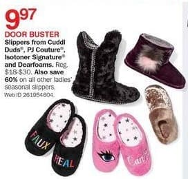 Bon-Ton Black Friday: Cuddl Duds, PJ Couture, Isotoner Signature or Dearfoams Ladies Slippers for $9.97