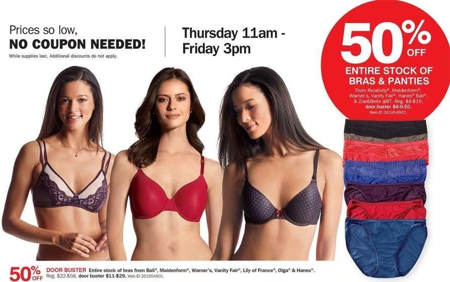 Bon-Ton Black Friday: Relativity, Maidenform, Warner's, Vanity Fair, Hanes, Bali or Zoe&Bella Panties - 50% Off