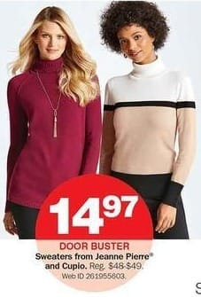 Bon-Ton Black Friday: Jeanne Pierre or Cupio Sweaters for $14.97