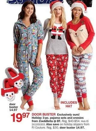 Bon-Ton Black Friday: Zoe&Bella @BT 3-pc. Holiday Women's Pajama Sets and Onesies, Includes Hat for $19.97