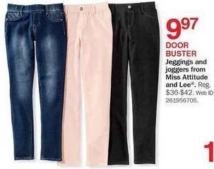 Bon-Ton Black Friday: Miss Attitude and Lee Girls' Jeggings and Joggers for $9.97