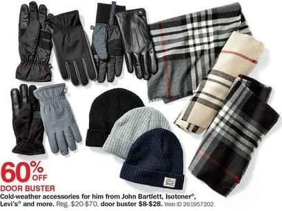 Bon-Ton Black Friday: John Bartlett, Isotoner, Levi's and More Mens' Cold-Weather Accessories - 60% Off