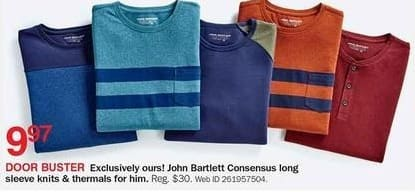 Bon-Ton Black Friday: John Bartlett Consensus Men's Long Sleeve Knits or Thermals for $9.97