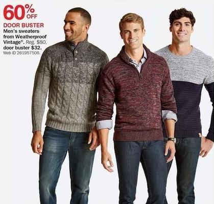 Bon-Ton Black Friday: Weatherproof Vintage Men's Sweaters - 60% Off