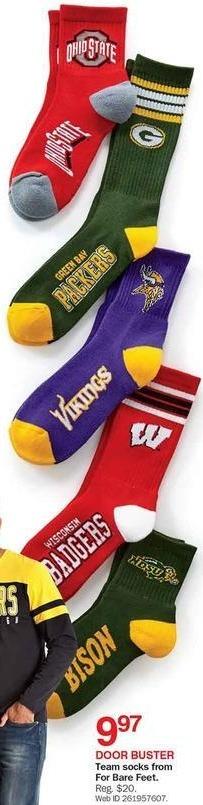 Bon-Ton Black Friday: For Bare Feet Team Men's Socks for $9.97