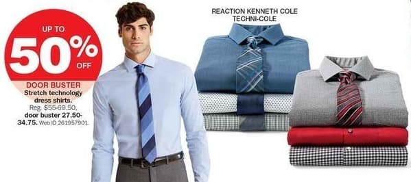 Bon-Ton Black Friday: Reaction Kenneth Cole Men's Stretch Technology Dress Shirts, Select Colors - 50% Off