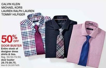Bon-Ton Black Friday: Calvin Klein, Michael Kors, Lauren Ralph Lauren, Tommy Hilfiger Men's Dress Shirts, Select Colors - 50%