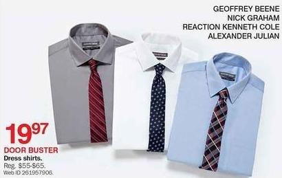 Bon-Ton Black Friday: Geoffrey Beene, Nick Graham, Reaction Kenneth Cole or Alexander Julian Men's Dress Shirts, Select Colors for $19.97