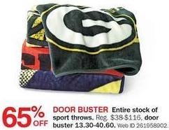 Bon-Ton Black Friday: Sport Throw Blankets - 65% Off