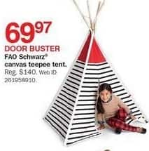 Bon-Ton Black Friday: FAO Schwarz Canvas Teepee Tent for $69.97