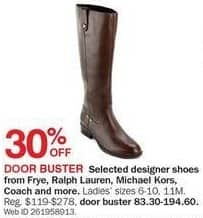 Bon-Ton Black Friday: Designer Ladies' Shoes from Frye, Ralph Lauren, Michael Kors, Coach and More - 30% Off