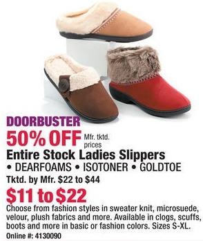 Boscov's Black Friday: Dearfoams, Isotoner or Goldtoe Ladies Slippers - 50% Off
