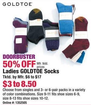 Boscov's Black Friday: Goldtoe Ladies Socks - 50% Off