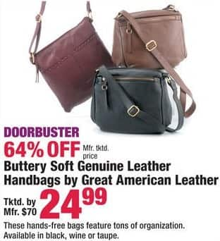Boscov's Black Friday: Great American Leather Women's Handbags, Assorted Colors - 64% Off