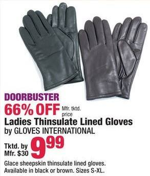 Boscov's Black Friday: Gloves International Ladies Thinsulate Lined Gloves for $9.99