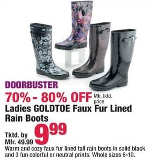 Boscov's Black Friday: Goldtoe Ladies Faux Fur Lined Rain Boots - 70% - 80% Off