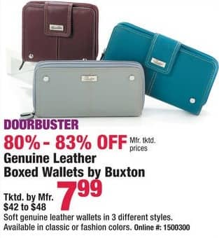 Boscov's Black Friday: Buxton Women's Leather Wallets for $7.99