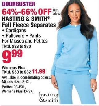 Boscov's Black Friday: Hasting & Smith Fall Fleece Separates, Cardigans, Pullovers and Pants for Misses and Petites - 64% - 66% Off