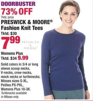 Boscov's Black Friday: Preswick & Moore Women's Fashion Knit Tees - 73% Off