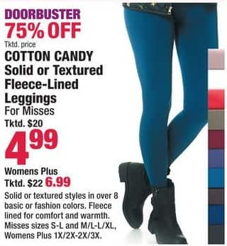 Boscov's Black Friday: Cotton Candy Women's Plus Solid or Textured Fleece-Lined Leggings for $6.99