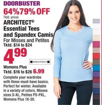 Boscov's Black Friday: Architect Womens Plus Essential Tees and Spandex Camis for $6.99