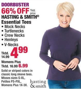 Boscov's Black Friday: Hasting & Smith Women's Essential Tees, Mock Necks, Turtlenecks, Crew Necks and More for $4.99