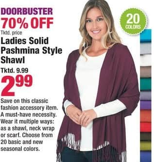 Boscov's Black Friday: Ladies Solid Pashmina Style Shawl, Assorted Colors for $2.99