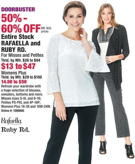 Boscov's Black Friday: Rafaella and Ruby Rd. Misses or Petites Blouses, Sweaters, Bottoms and More for $13.00 - $47.00