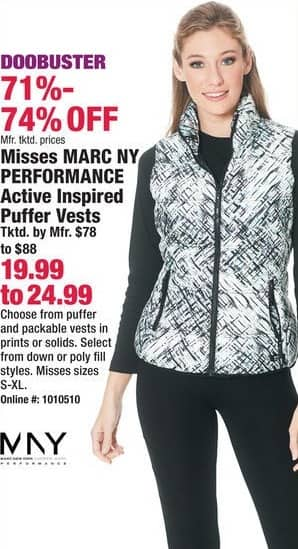 Boscov's Black Friday: Marc NY Performance Misses Active Inspired Puffer Vests in Prints or Solids for $19.99 - $24.99