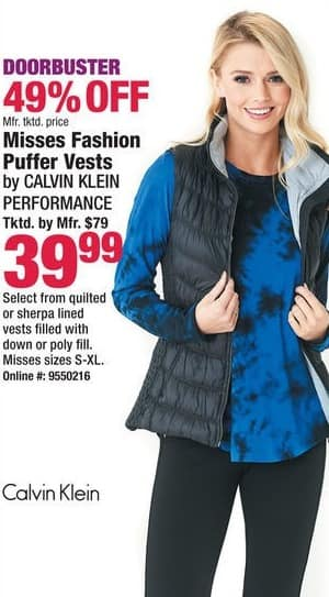 Boscov's Black Friday: Calvin Klein Performance Misses Fashion Puffer Vests for $39.99