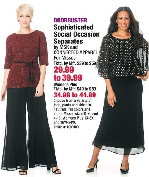 Boscov's Black Friday: MSK or Connected Apparel Women's Plus Sophisticated Social Occasion Separates, Tops, Pants and Skirts for $34.99 - $44.99
