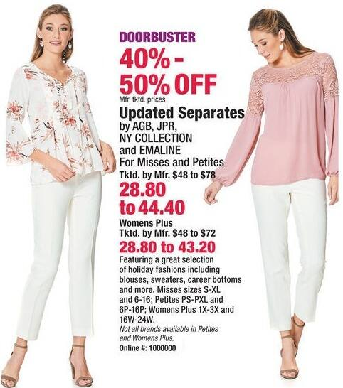 Boscov's Black Friday: AGB, JPR, NY Collection or Emaline Women's Plus Updated Separates, Blouses, Sweaters and More for $28.80 - $43.20