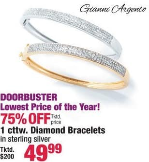 Boscov's Black Friday: Gianni Argento 1cttw. Diamond Bracelets in Sterling Silver for $49.99