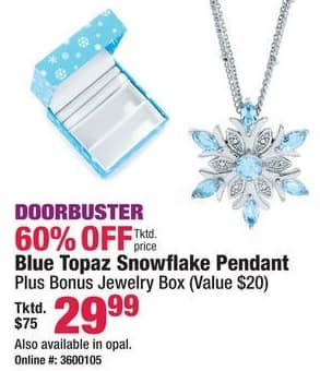 Boscov's Black Friday: Blue Topaz or Opal Snowflake Pendant for $29.99