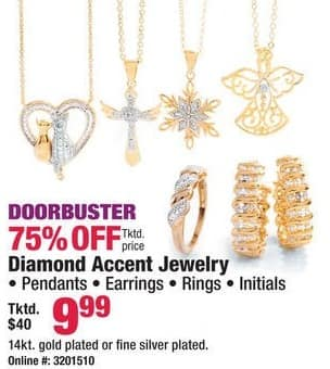 Boscov's Black Friday: Diamond Accent Jewelry, Pendants, Earrings, Rings or Initials for $9.99