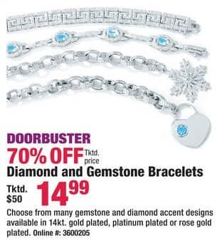 Boscov's Black Friday: Diamond and Gemstone Bracelets for $14.99